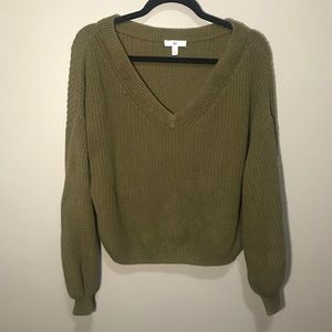 BP from Nordstrom Olive V Neck Knit Sweater